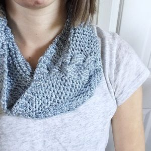 Cowl Infinity Scarf, Cable Knitted Light Blue